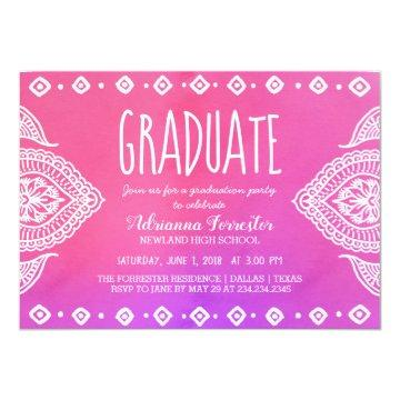 Bohemian Pink Watercolor Mandala | Graduate Card