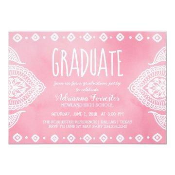 Bohemian Rose Watercolor Mandala | Graduate Card