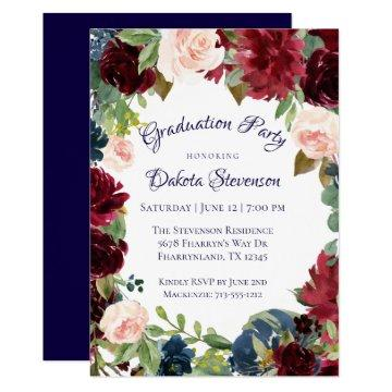 Boho Chic | Rustic Floral Wreath Graduation Party Invitation