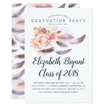 Boho Floral Watercolor Feathers Graduation Party Invitation
