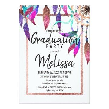Boho Watercolor Dreamcatcher Rose Gold Graduation Card