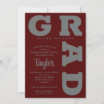 Bold GRAD | Gray on Dark Maroon Graduation Invites