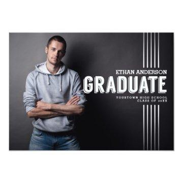 Bold Graduate | White Text Photo Graduation Party Invitation
