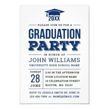 Bold Navy Blue and White Photo Graduation Party