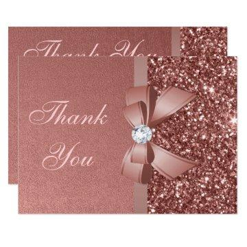 Bow Glitter Rose Gold Graduation Thank You Card