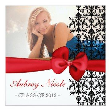 Bowed Floral Damask Graduation Invite [Red]