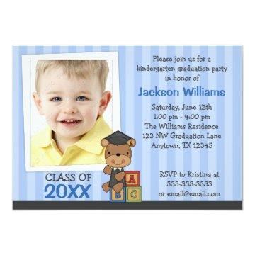 Boy Photo Graduation Bear Blue Stripes