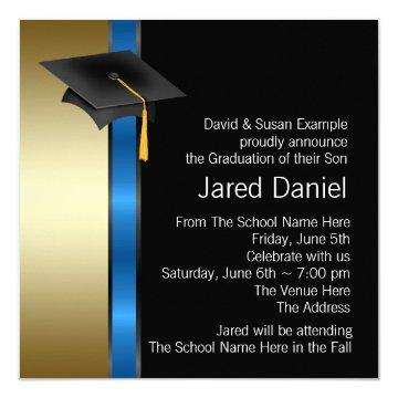 Boys Blue Gold Graduation Announcements