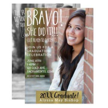 Bravo She Did It Magazine Picture Photo Graduation Invitation