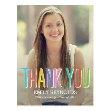 Bright and Colorful Graduation Thank You Card