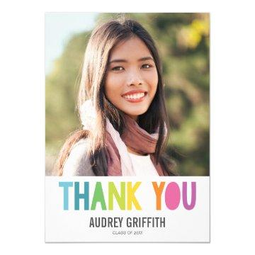 Bright Colorful Thank You Photo Card