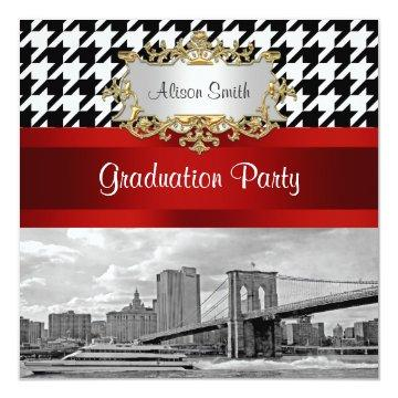 Brooklyn Bridge Blk Wht Houndstooth Graduation