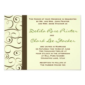 Brown and Beige Flourish Invitation