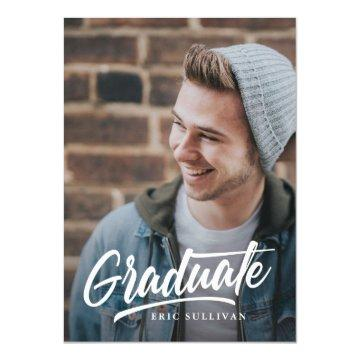Brush Script Modern Graduation 2-sided Photo Party Invitation
