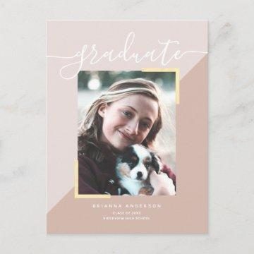 Brush Script Pink Beige Block Photo Graduation Announcement Postcard