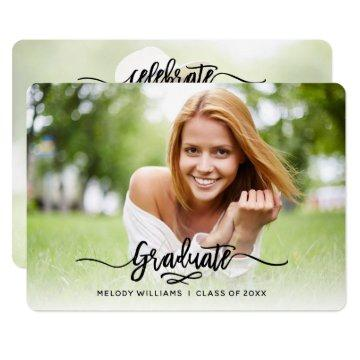 Brushed Modern Script 2 Photo Graduation Party Invitation