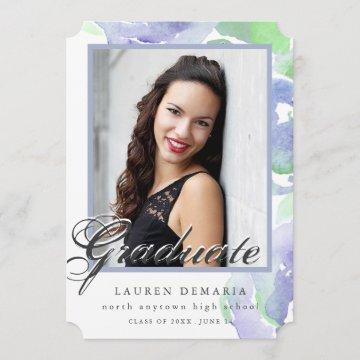 Brushed Watercolor Graduation Announcement