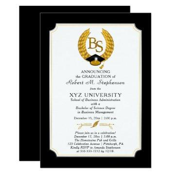BS - Bachelor of Science Degree College Graduation Invitation