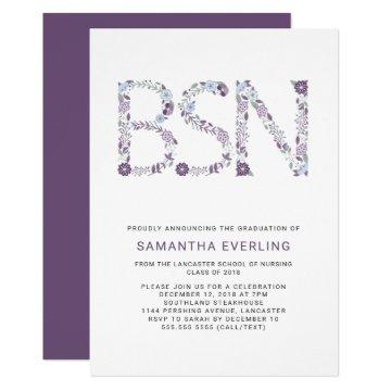 BSN graduation celebration, floral nurse purple Invitation