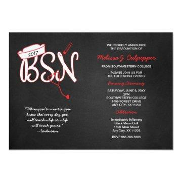 BSN graduation invites with nurse quote RED