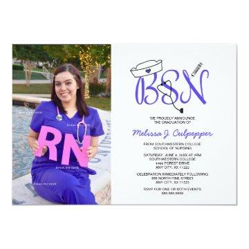 BSN Nurse photo graduation pinning party / purple Invitation