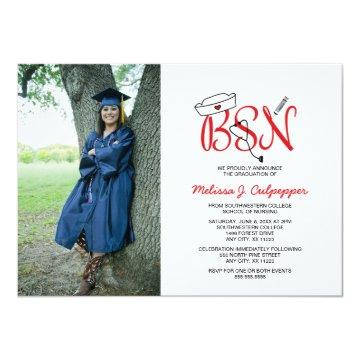 BSN Nurse photo graduation pinning party / red