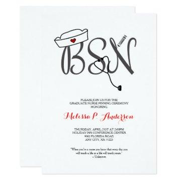 BSN Pinning Ceremony Invite, fun nurse graduation Invitation
