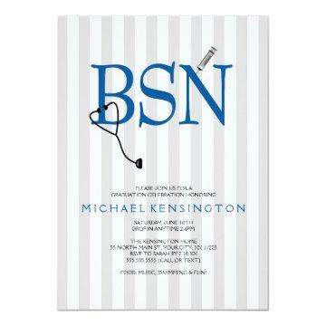 BSN RN nurse graduation invites / GREY STRIPES