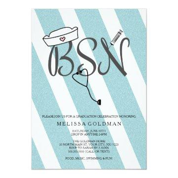 BSN RN nurse graduation invites teal blue glitter