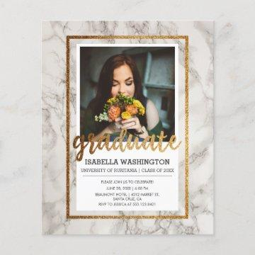 Budget Gold & Marble Photo Graduation Party