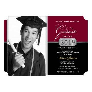 Burgundy and Black Modern Class of 2019 Graduation Invitation