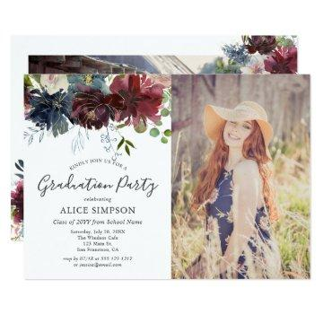 Burgundy and Blue Floral Graduation Party Photo