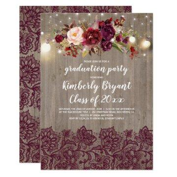Burgundy Floral Lace Rustic Graduation Party Card