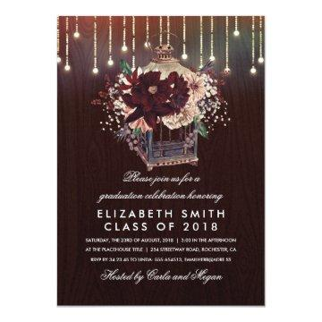 Burgundy Floral Lantern Rustic Graduation Party Card