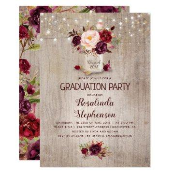 Burgundy Floral Mason Jar Rustic Graduation Party Card