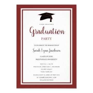 Burgundy Formal Graduation Party Invitation