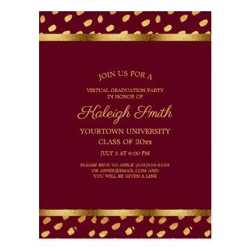 Burgundy Gold Virtual Quarantine Graduation Party Postcard