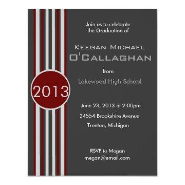 Burgundy Gray Striped Graduation Party Invitation