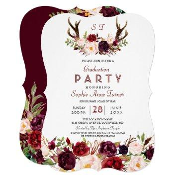 Burgundy Marsala Floral Antlers Graduation Party Invitation