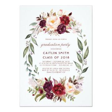 Burgundy - Marsala Floral Wreath Graduation Party Card
