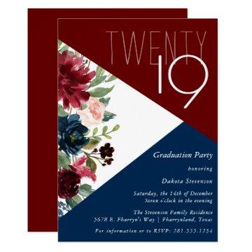 Burgundy Navy Floral | Boho Colorblock Graduation Invitation
