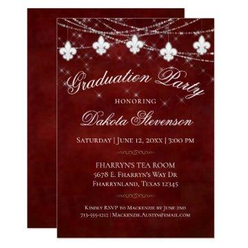 Burgundy Red Fleur de Lis Light | Graduation Party Invitation