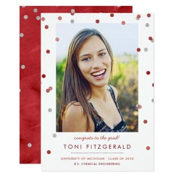 Burgundy & Silver Confetti Photo Graduation Invitation