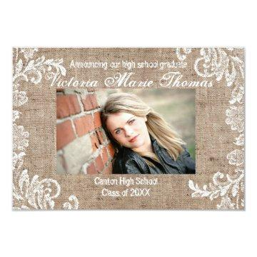 Burlap & Lace - 3x5 Graduation Announcement