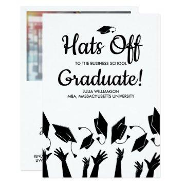 Business School Graduation Photo Hats Off Party Card
