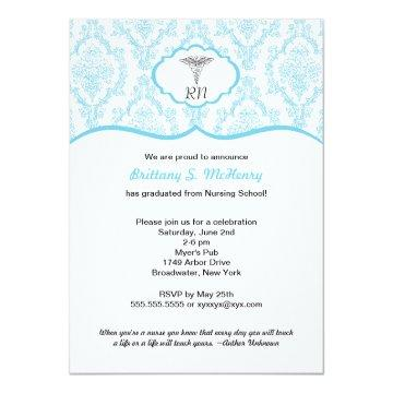 Caduceus Damask blue Nursing school graduation RN Card