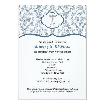 Caduceus Damask navy blue Nurse graduation RN BSN Card