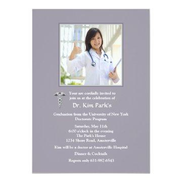 Caduceus Photo Graduation Invitation