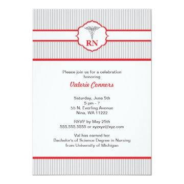 Caduceus RN BSN LPN Graduation Red and Gray Invitation