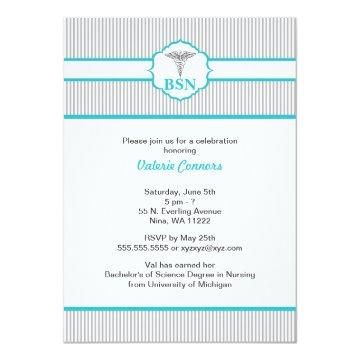 Caduceus RN BSN LPN Graduation Turquoise Blue Invitation